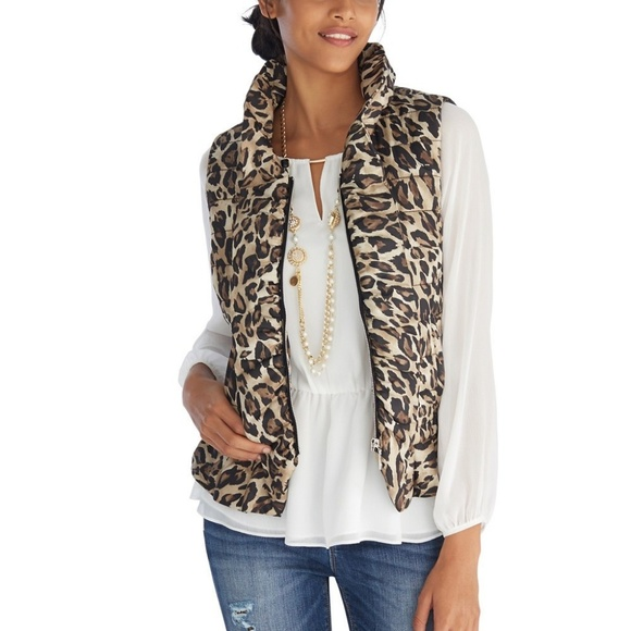 NWT $160 WHBM Leopard Print Packable Puffer Vest